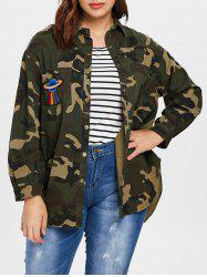 Plus Size Double Pocket Camo Blouse -
