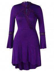 Plus Size Asymmetric Lace Spliced Bell Sleeves Dress -