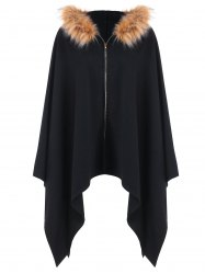 Asymmetric Fluffy Hooded Cape -