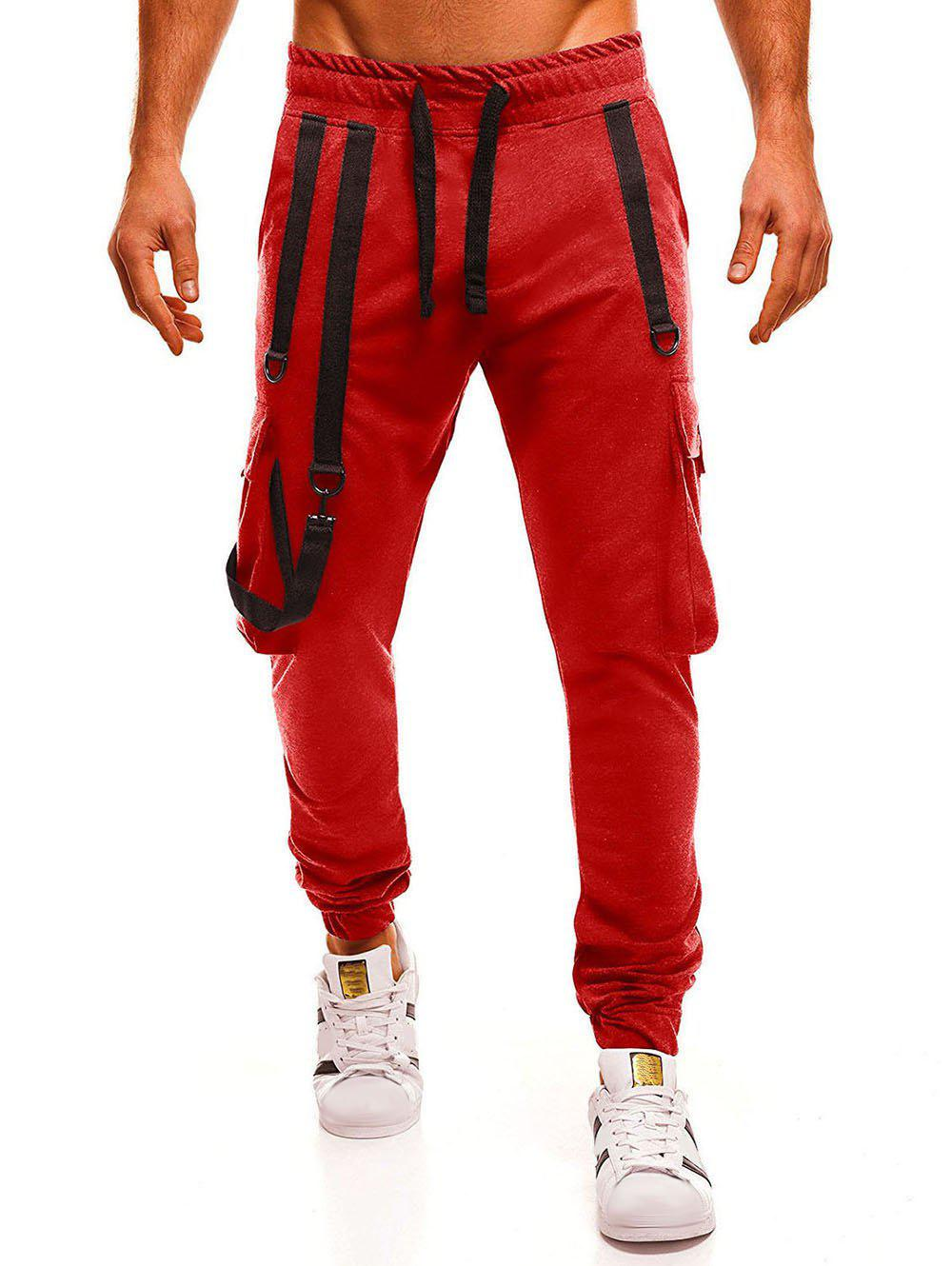 Affordable Strap Embellished Drawstring Waist Jogger Pants