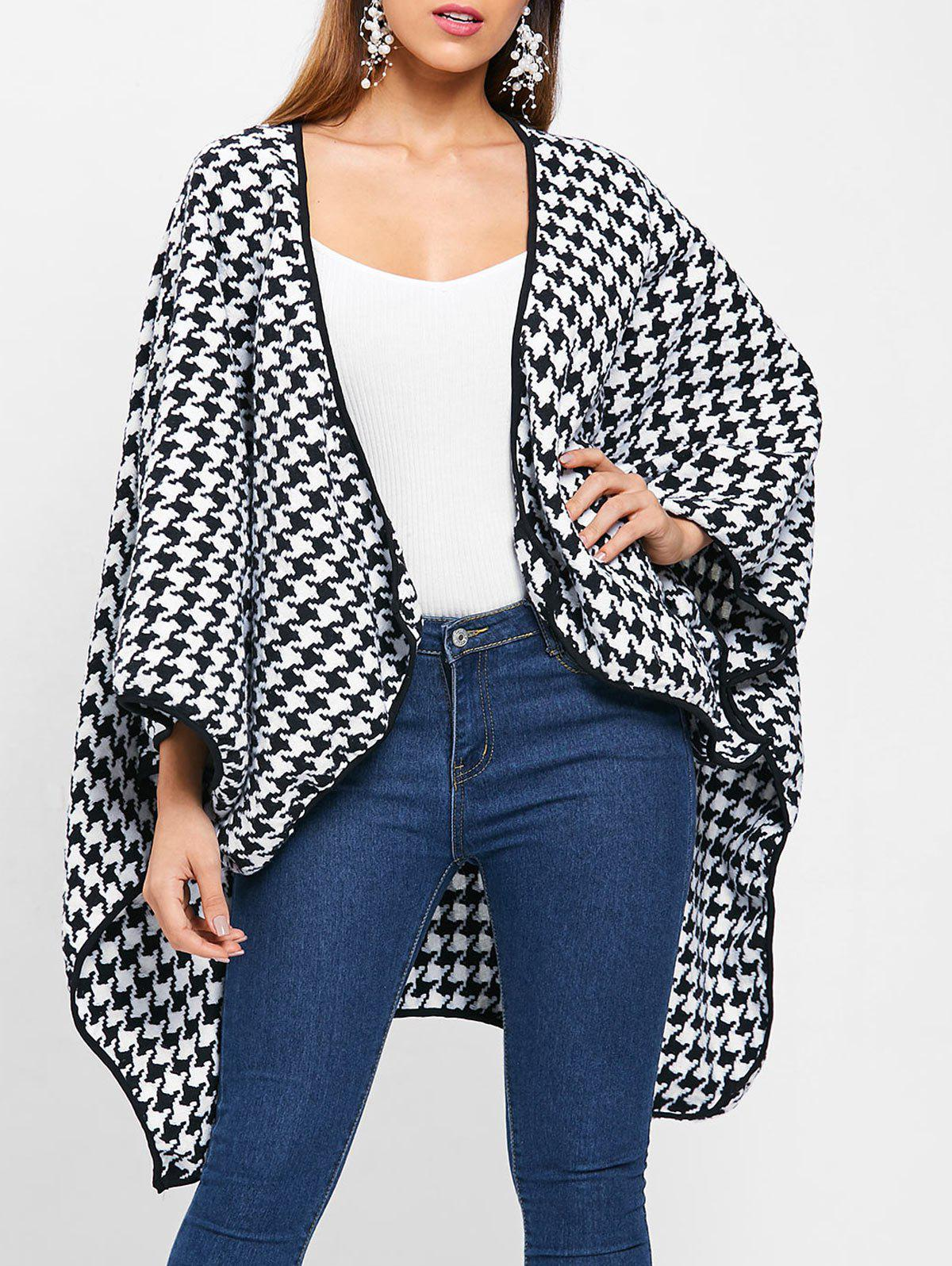 Affordable Houndstooth Pattern Batwing Sleeve Coat