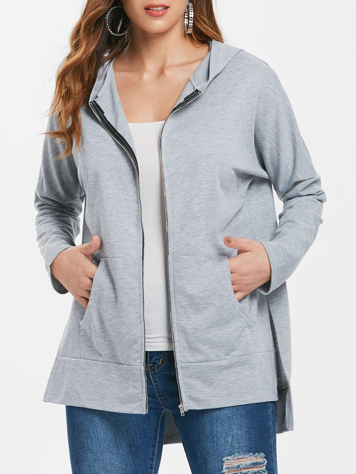 Online Asymmetrical Long Zipper Hoodie