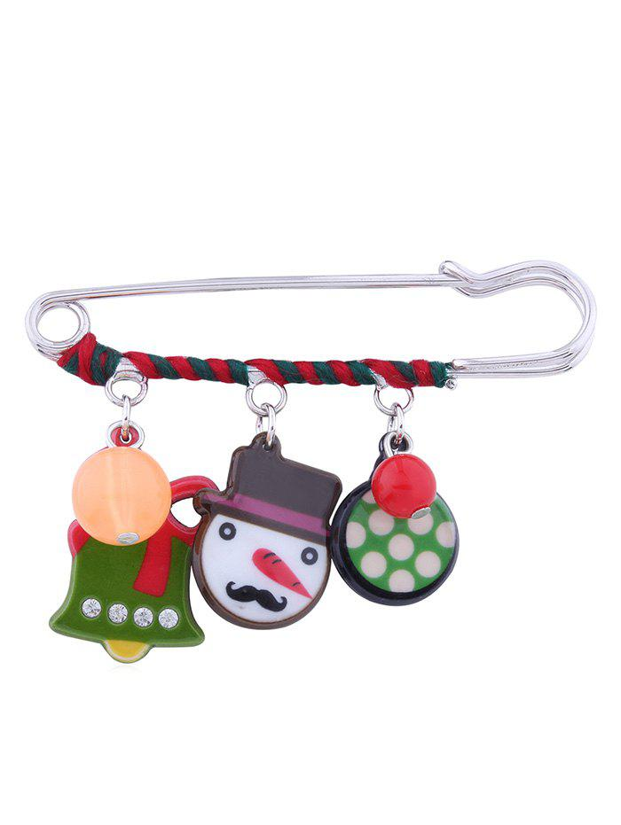 Hot Christmas Snowman Bell Decorative Brooch