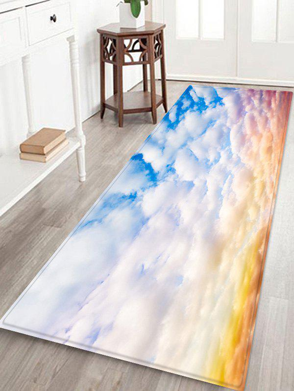 Fashion Cloud Printed Non-slip Decorative Flannel Bath Mat