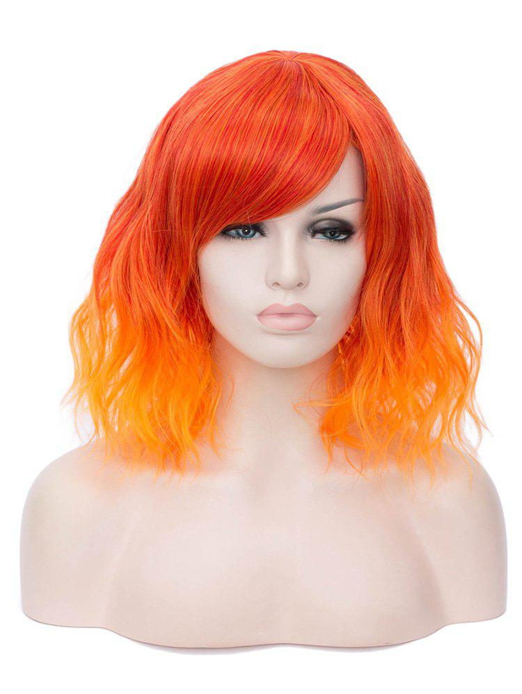Fancy Short Inclined Bang Ombre Natural Wavy Synthetic Wig