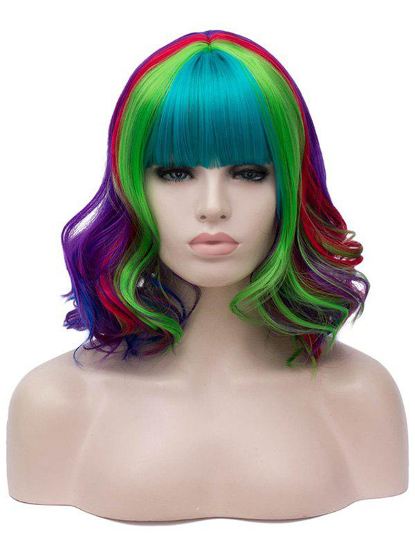 Outfit Medium Neat Bang Colorful Wavy Party Halloween Synthetic Wig