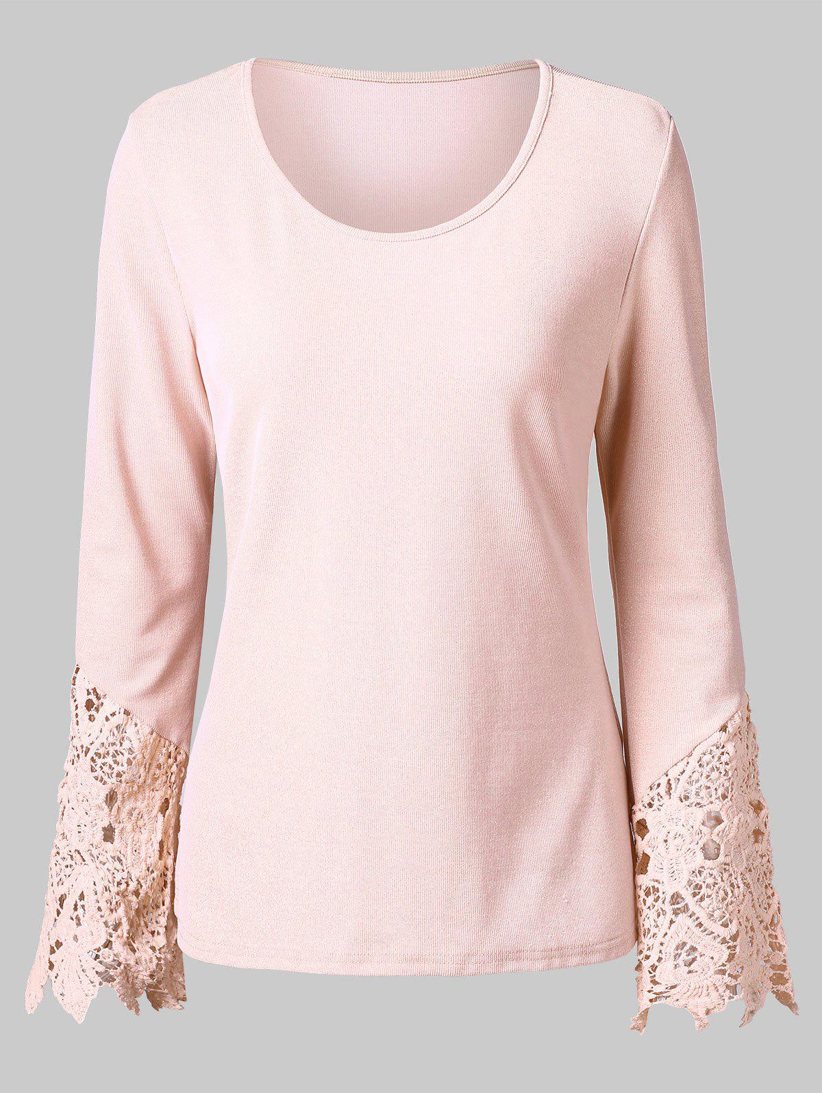 Discount Lace Trim Full Sleeve T-shirt