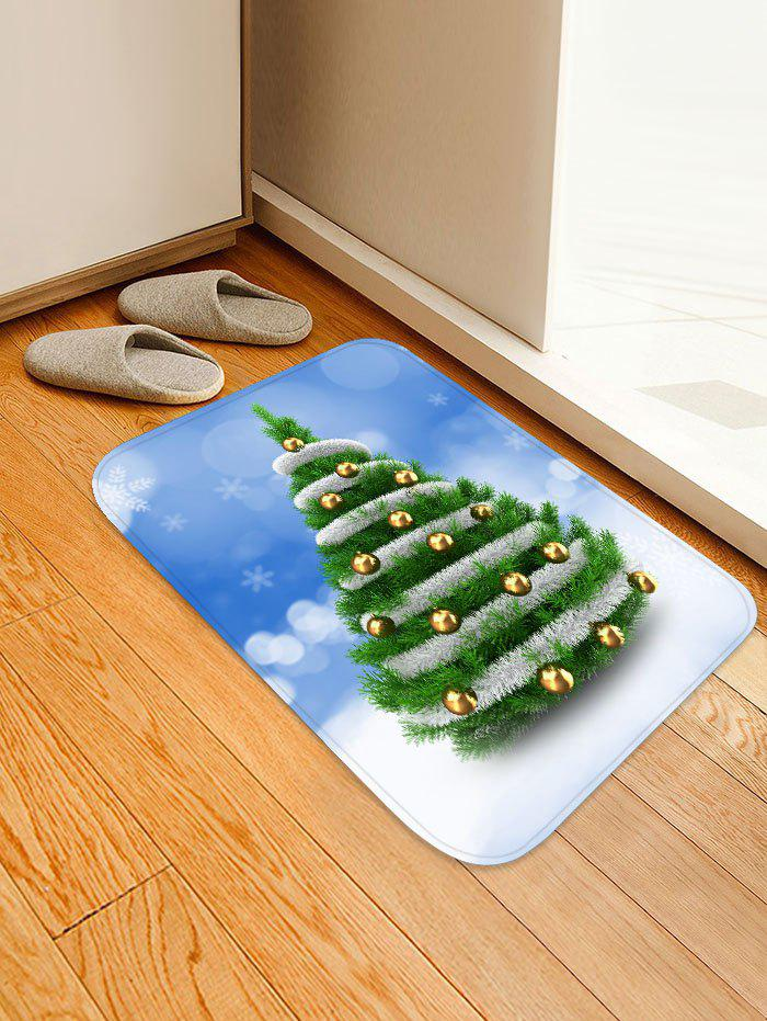Store Christmas Tree and Baubles Snowflakes Print Floor Mat