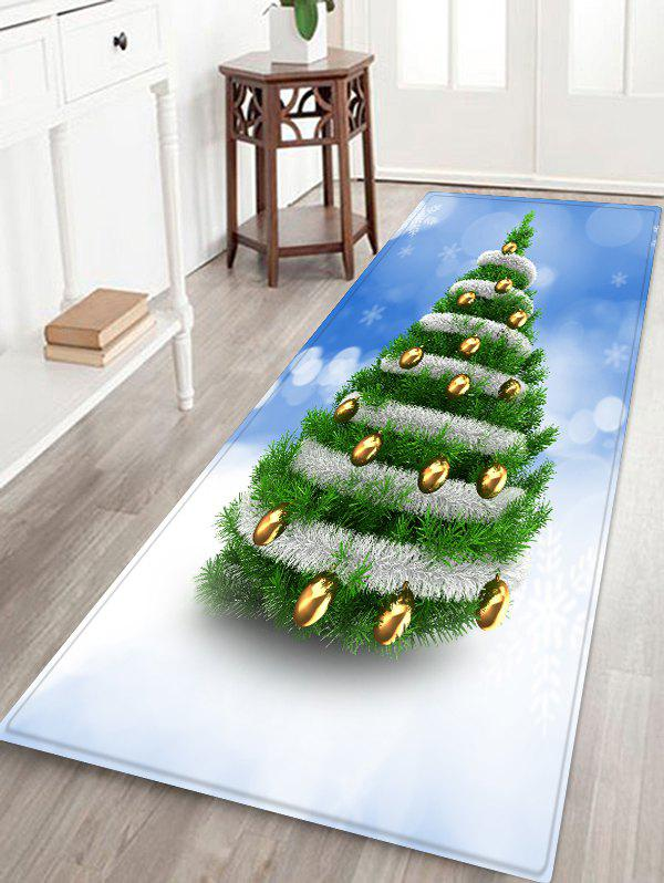 New Christmas Tree and Baubles Snowflakes Print Floor Mat