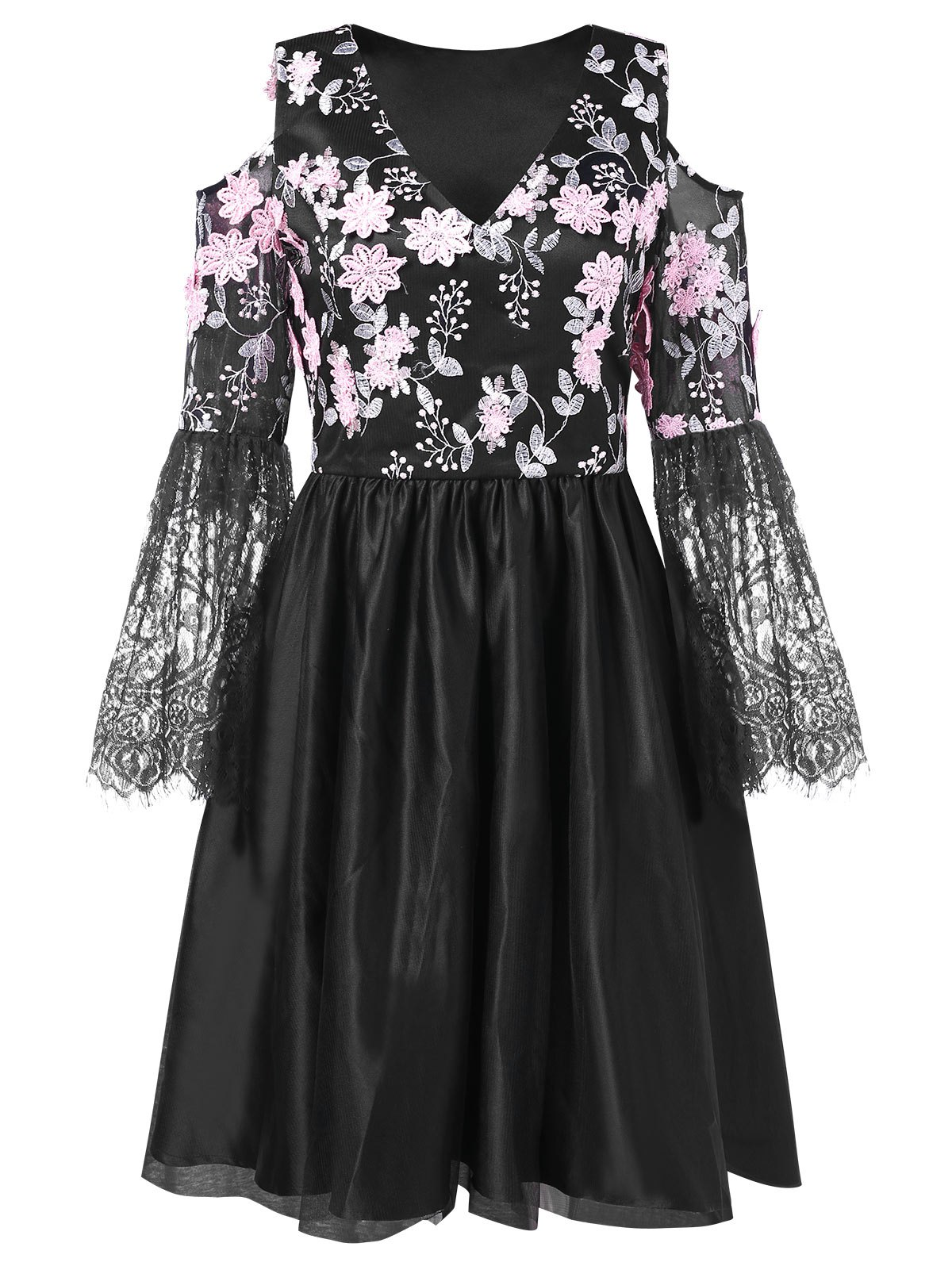 Unique Lace Panel Floral Embroidered Cold Shoulder Dress