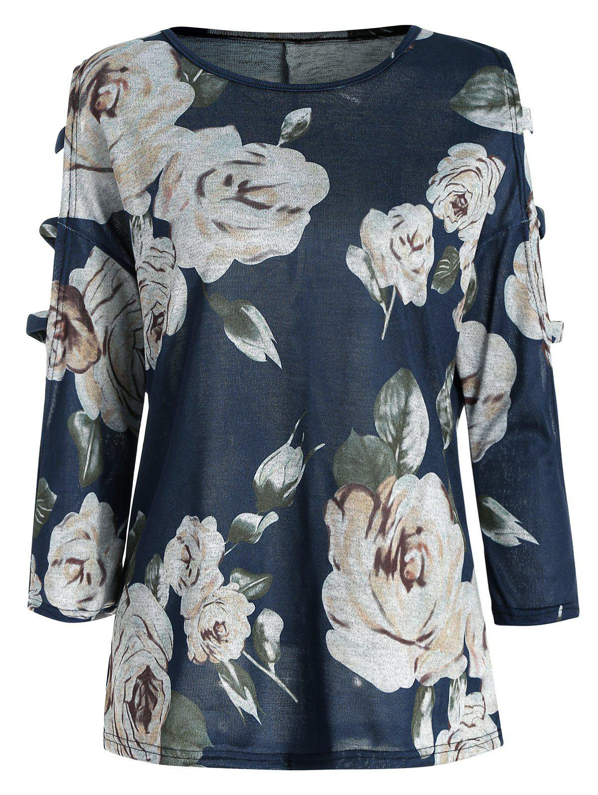 Affordable Floral Print Ladder Cut Sleeve Blouse