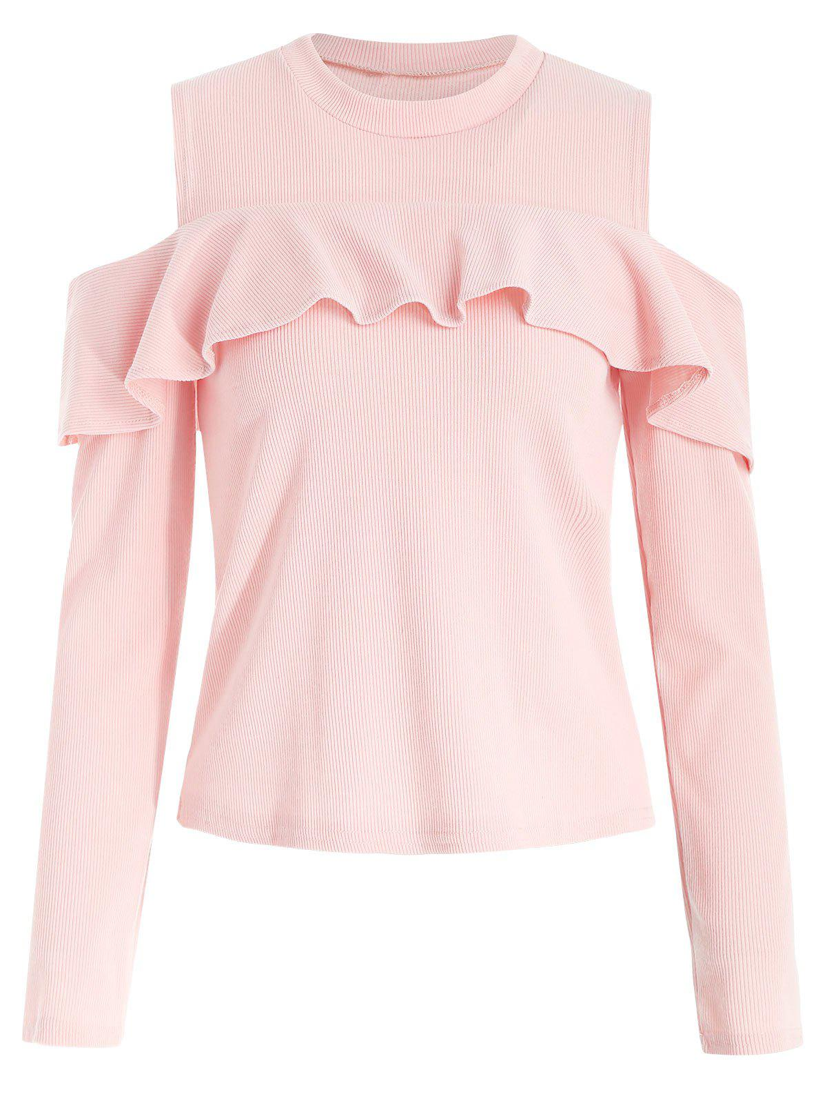 Best Ruffled Trim Cold Shoulder Knitwear