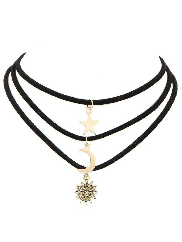 Fashion Alloy Moon Star Sun Multi Layered Choker Necklace