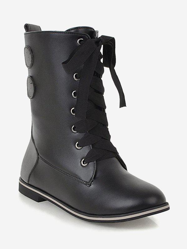 Hot Plus Size Lace Up Mid Calf Boots