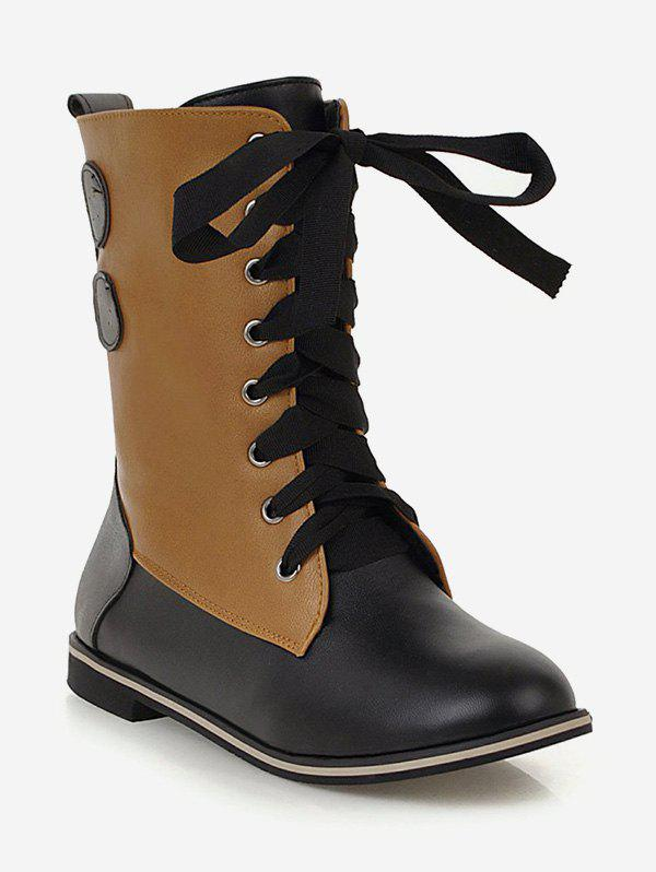 Cheap Plus Size Lace Up Mid Calf Boots