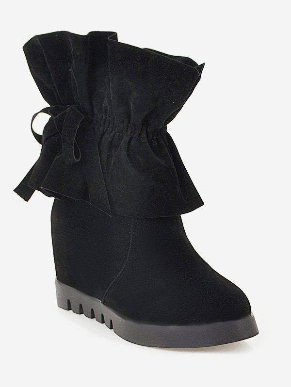 Affordable Plus Size Ruched Hidden Heel Short Boots