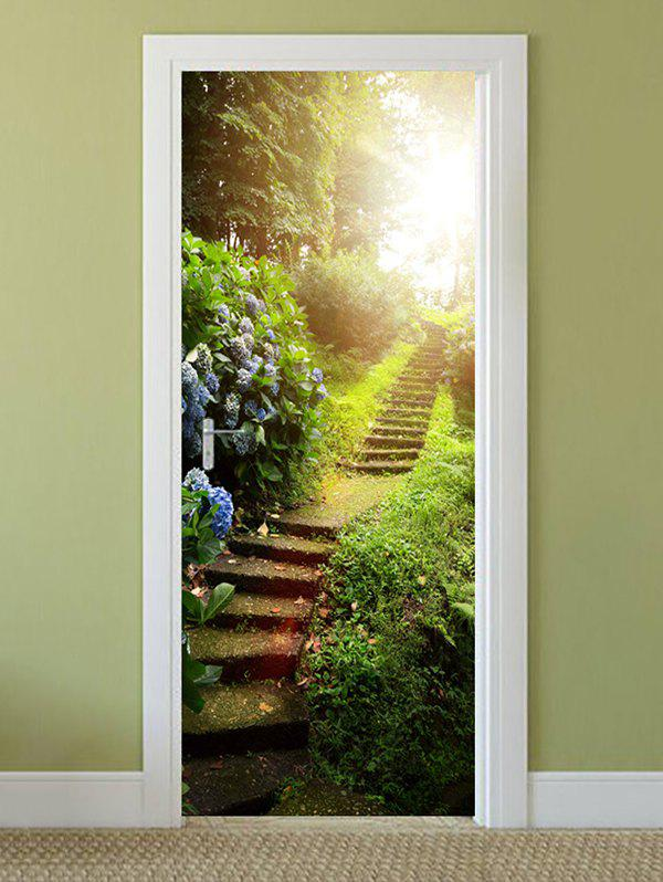 Trendy Forest Stairs Print Door Cover Stickers