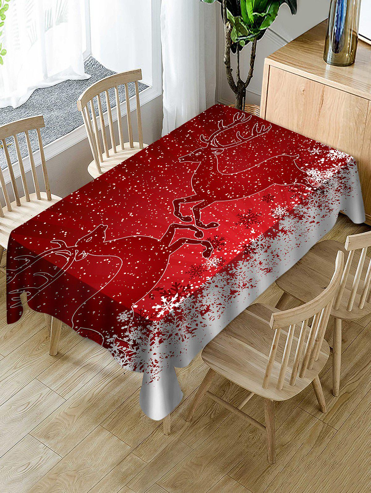 Store Christmas Deer Print Fabric Waterproof Tablecloth