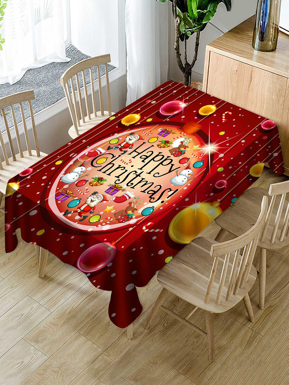 Affordable Happy Christmas Print Fabric Waterproof Tablecloth