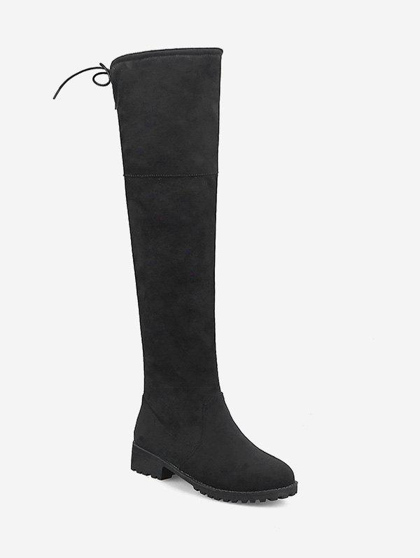 Latest Plus Size Chunky Heel Suede Thigh High Boots