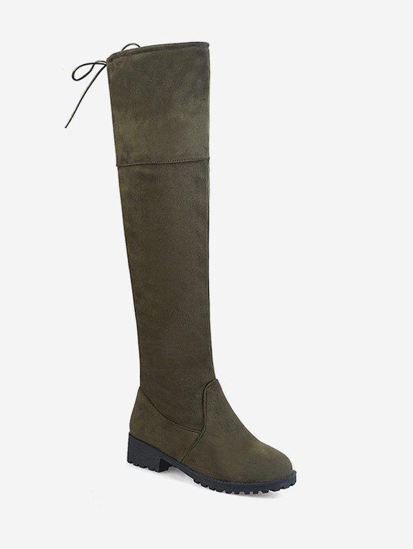 Discount Plus Size Chunky Heel Suede Thigh High Boots