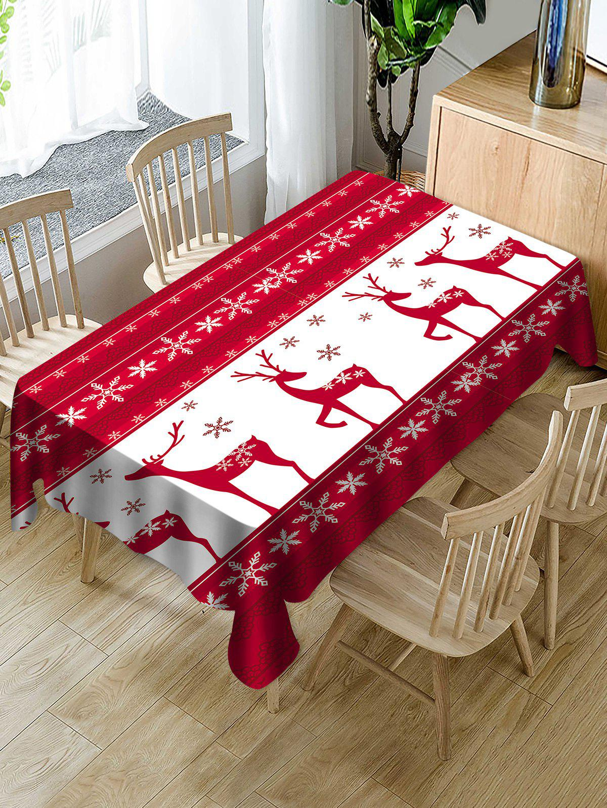Latest Christmas Elk Snowflake Print Fabric Waterproof Tablecloth