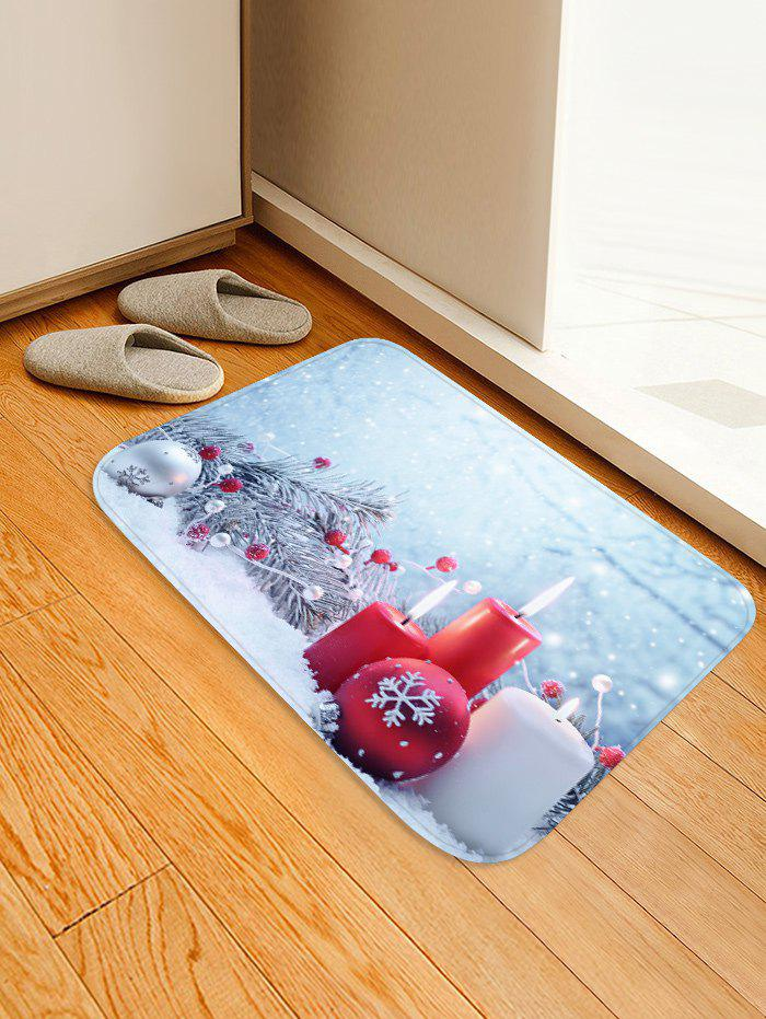 Latest Tree Branches Candles and Balls Printed Christmas Floor Mat