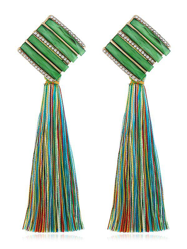 Hot Rhinestone Striped Long Tassel Drop Earrings