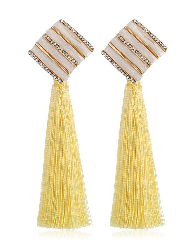 Latest Rhinestone Striped Long Tassel Drop Earrings