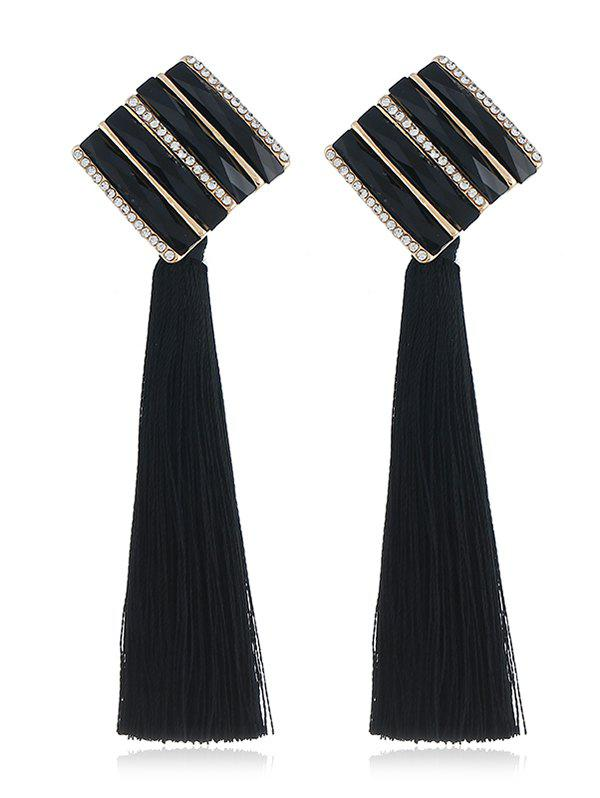 Outfits Rhinestone Striped Long Tassel Drop Earrings
