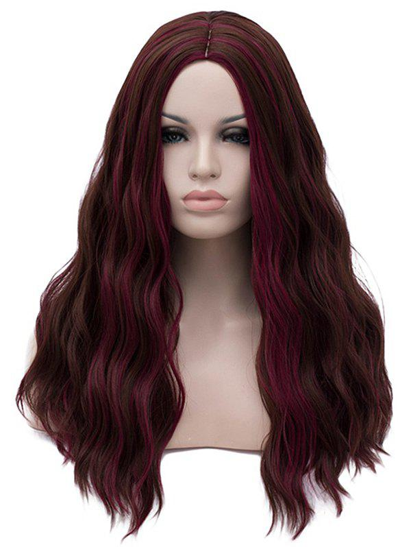 Discount Long Center Parting Highlight Wavy Party Synthetic Wig