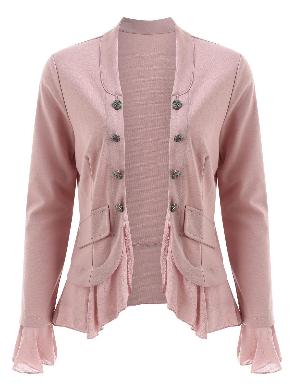 Discount Open Front Buttons Flounce Jacket