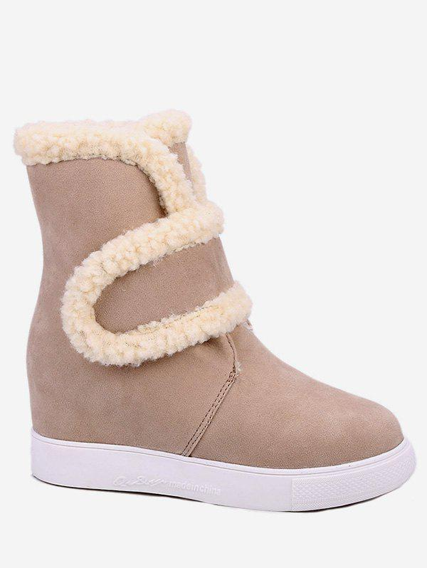 Unique Plus Size Faux Fur Trim Suede Snow Boots