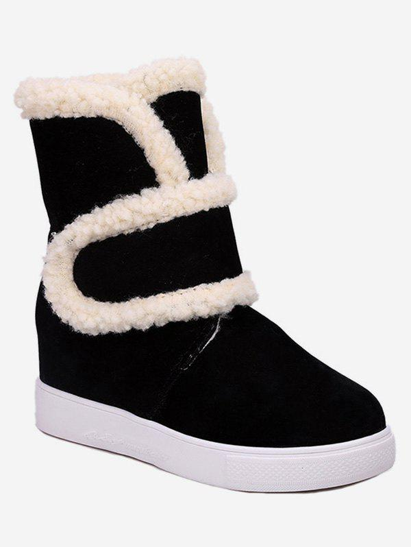 Sale Plus Size Faux Fur Trim Suede Snow Boots
