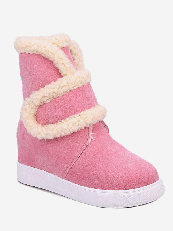 Cheap Plus Size Faux Fur Trim Suede Snow Boots