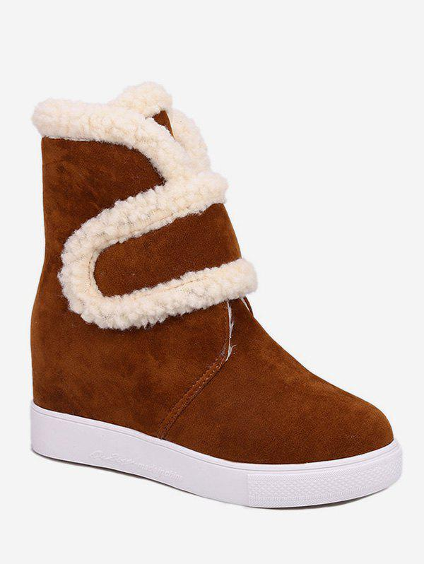 New Plus Size Faux Fur Trim Suede Snow Boots
