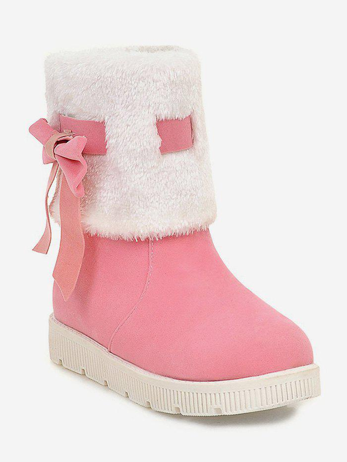 Trendy Plus Size Faux Fur Bow Short Boots