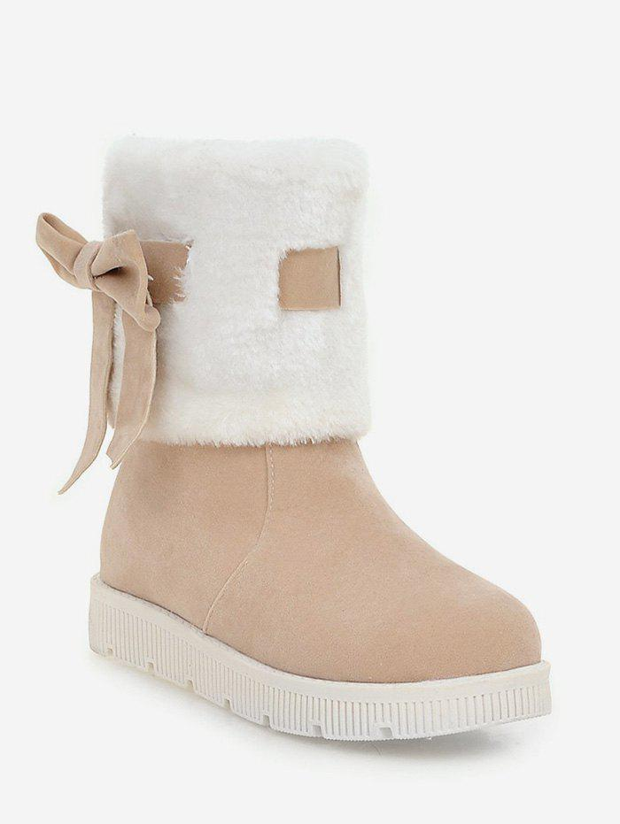 Latest Plus Size Faux Fur Bow Short Boots