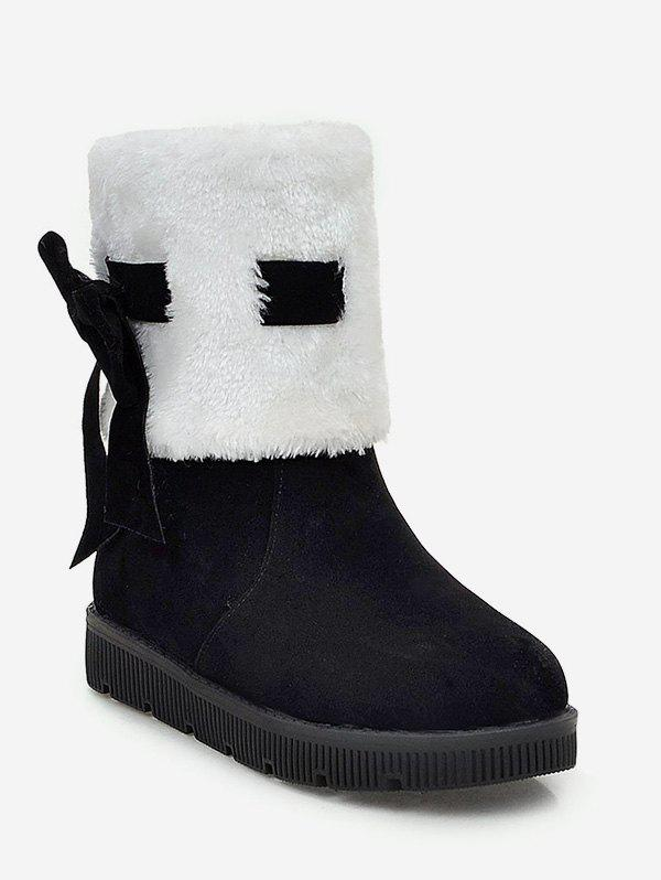 Affordable Plus Size Faux Fur Bow Short Boots