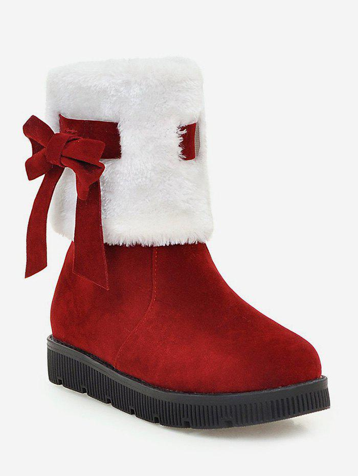 Sale Plus Size Faux Fur Bow Short Boots
