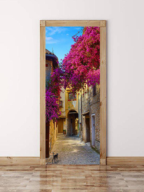 Cheap Flowers Alley Print Door Cover Stickers