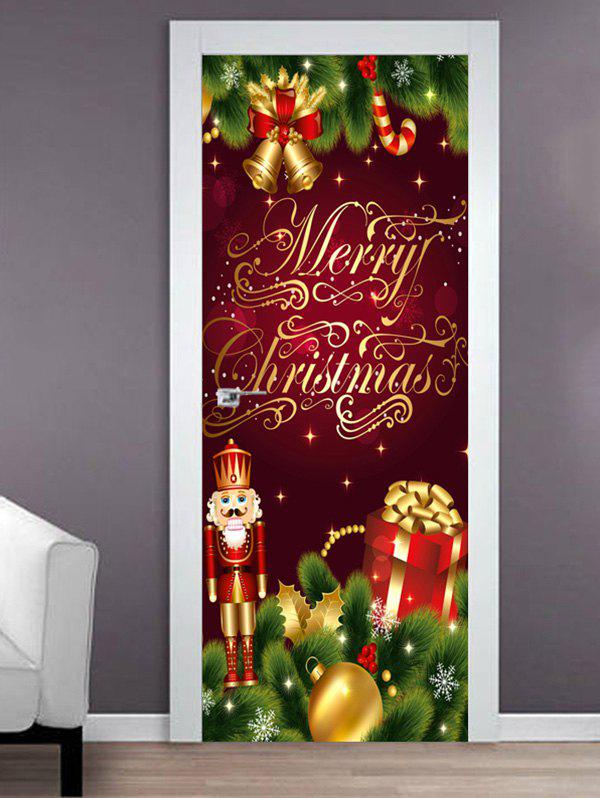 Fashion Merry Christmas King Print Door Cover Stickers