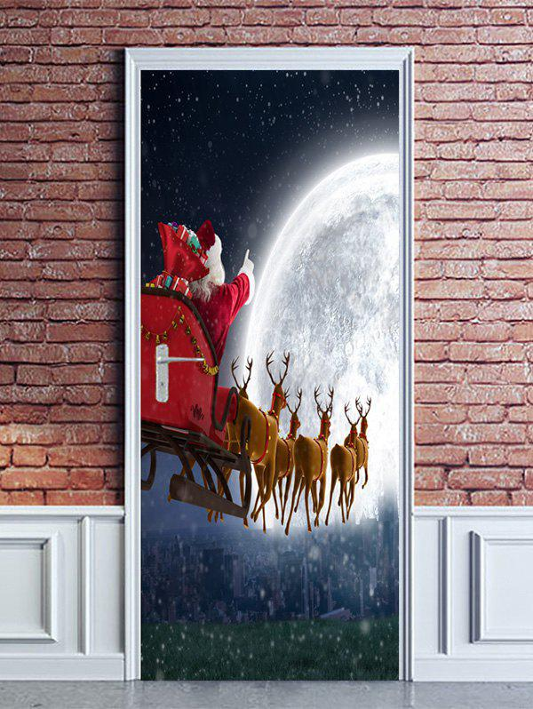 Trendy Christmas Moon Deer Sleigh Print Door Stickers