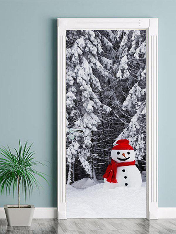 Outfit Christmas Snowman Forest Print Door Cover Stickers