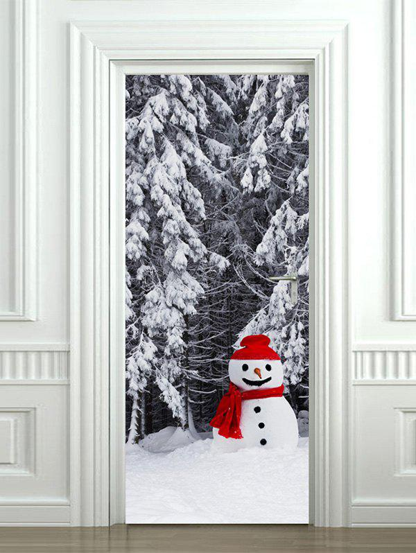 Shops Christmas Snowman Forest Print Door Cover Stickers