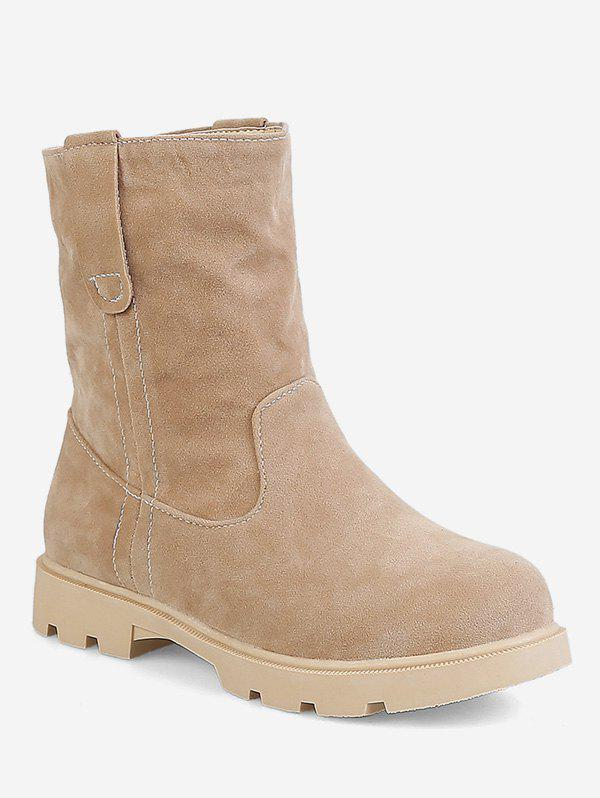 Chic Plus Size Low Heel Suede Sewing Boots