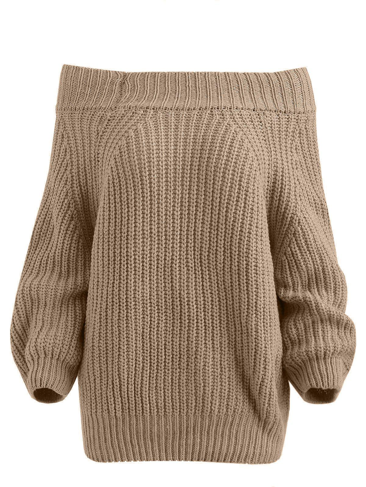 Discount Pullover Off The Shoulder Chunky Sweater