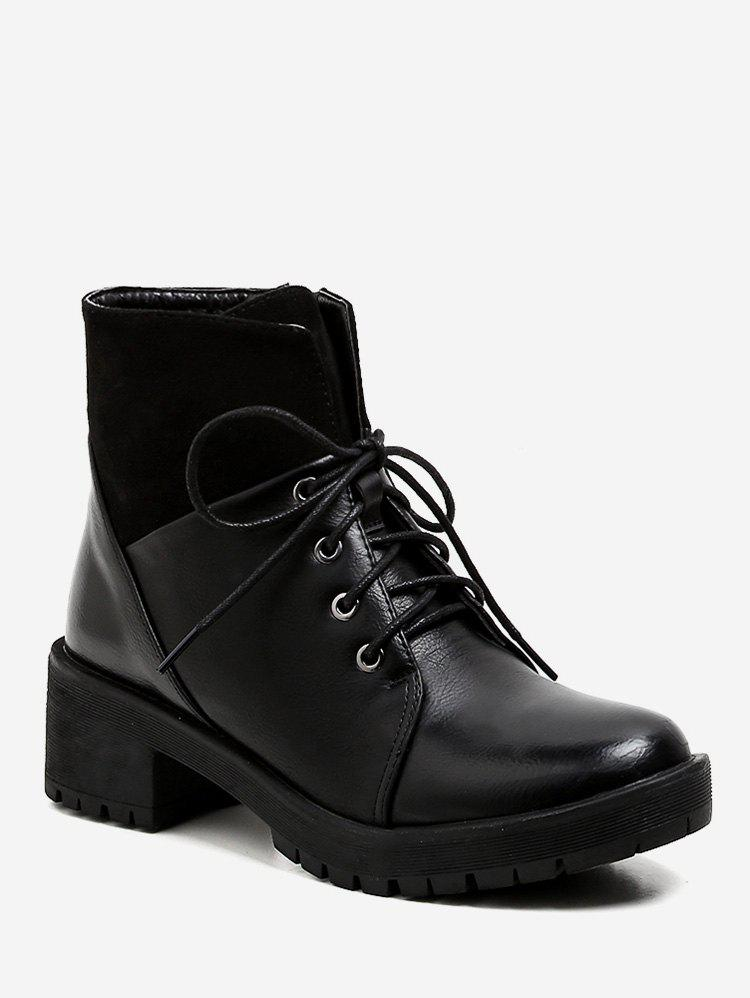 Affordable Block Heel Lace Up Short Boots