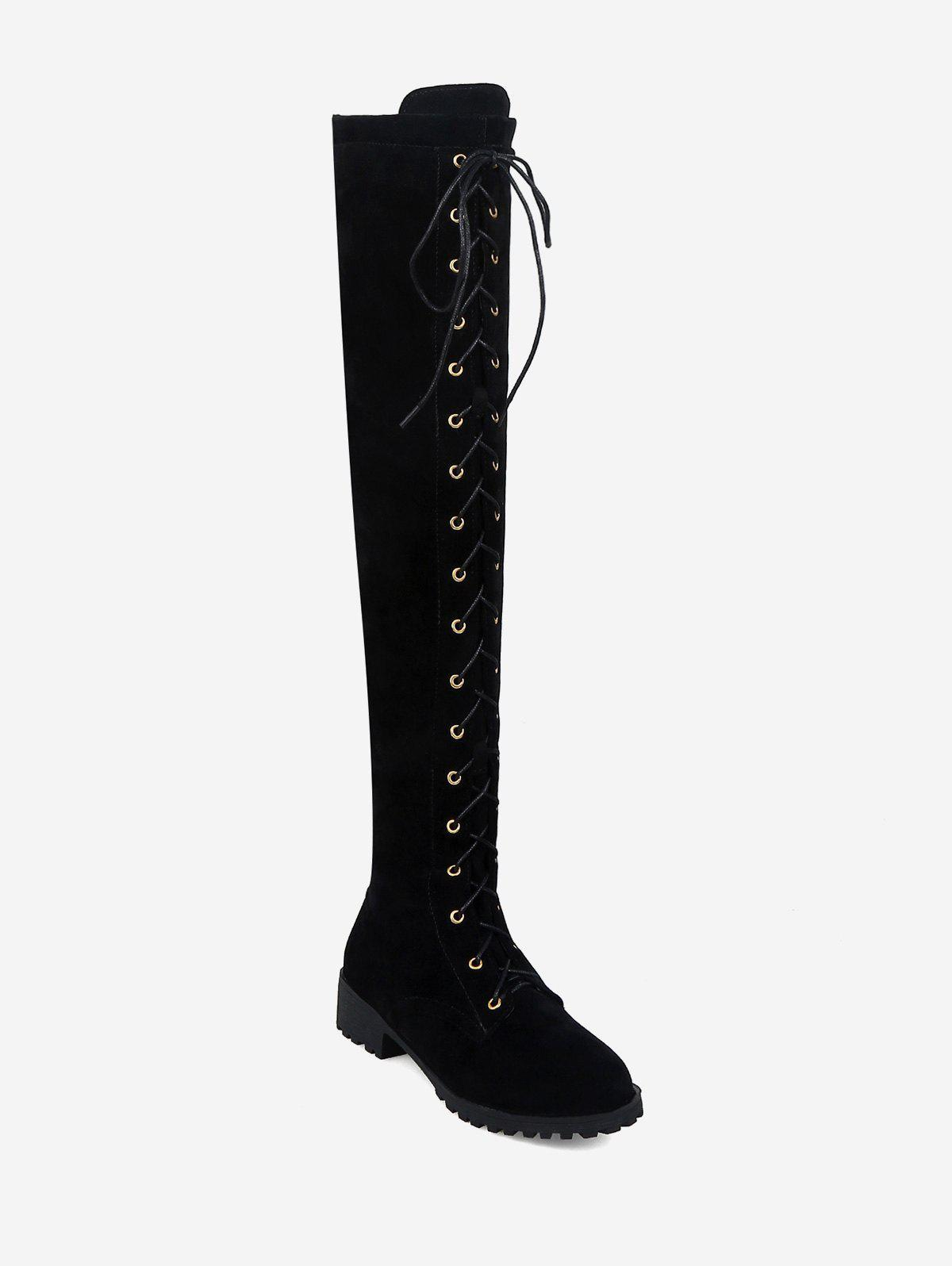 Chic Chunky Heel Suede Thigh High Boots