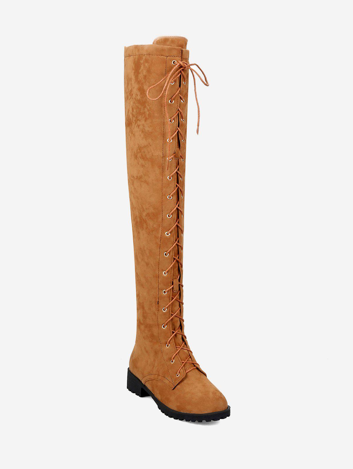 Shops Chunky Heel Suede Thigh High Boots